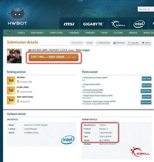 Bild: G.SKILL & ASRock: Neuer Weltrekord bei DDR4-Speicher mit 4.795 MHz