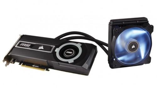 Bild: MSI GeForce GTX 980 Ti SEA HAWK mit Flüssigkühler von Corsair
