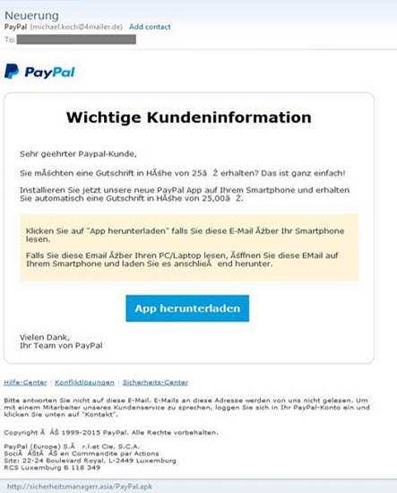 Falsche PayPal-App: Neuer Banking-Trojaner in Android-Apps