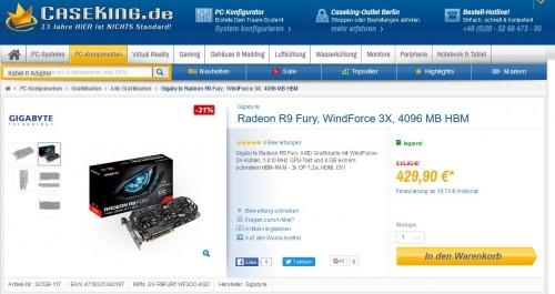Bild: Grafikkarten-Schnäppchen: Gigabyte Radeon R9 Fury, WindForce 3X für 429,90