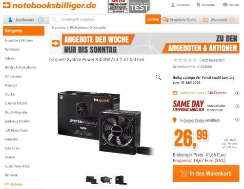 Bild: Schnäppchen: be quiet! System Power 8 400 Watt für nur 26,99 Euro