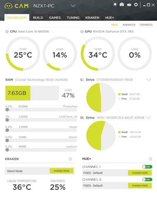 Bild: NZXT CAM 3.1: Software für LED-Steuerung und GPU-Übertaktung