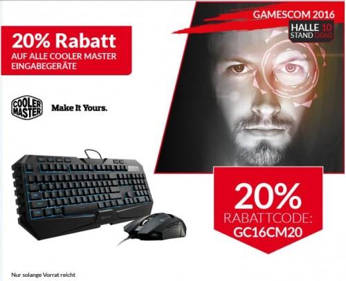 Bild: Cooler Master: nur noch heute 20 Prozent Rabatt auf Tastaturen und Mäuse