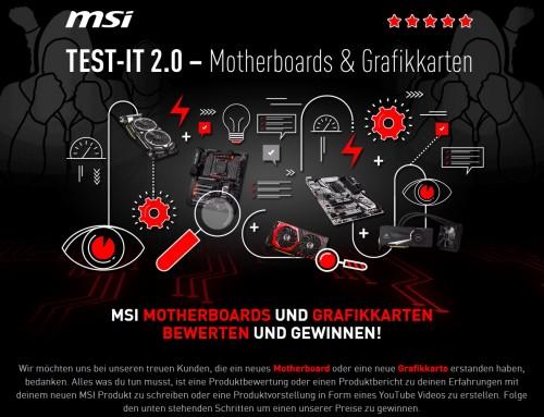 Bild: MSI Test-It 2.0: Produkte bewerten und aktuelle Hardware gewinnen