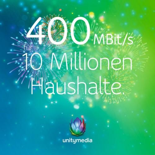Unitymedia: 400-MBit/s-Anschlüsse für mehr als 10 Millionen Haushalte