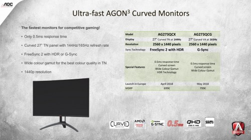 aoc curved gaming monitor mit 0 5 millisekunden reaktionszeit. Black Bedroom Furniture Sets. Home Design Ideas
