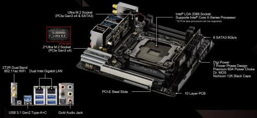 Bild: ASRock X299E-ITX/ac: Skylake-X-CPUs mit bis zu 18 Kernen auf einem ITX-Mainboard