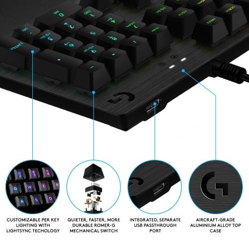 Logitech G512: Tastatur mit RGB-Beleuchtung und GX-Blue-Schaltern