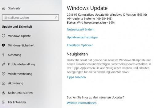 Windows 10: Umfangreiches Update für Version 1803 ausgerollt