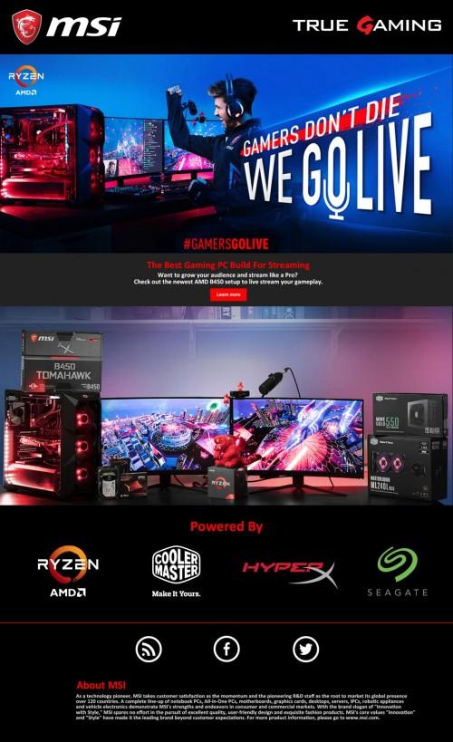 MSI GamersGoLive: Aktion mit AMD, Cooler Master, HyperX und Seagate