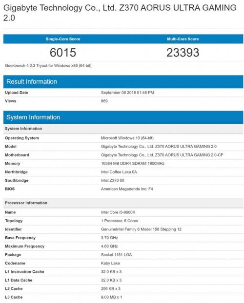 Intel Core i5-9600K im GeekBench getestet