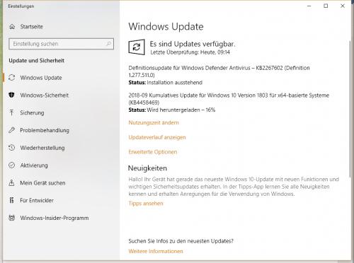 Windows 10: Oktober-Update 1809 steht als Download bereit
