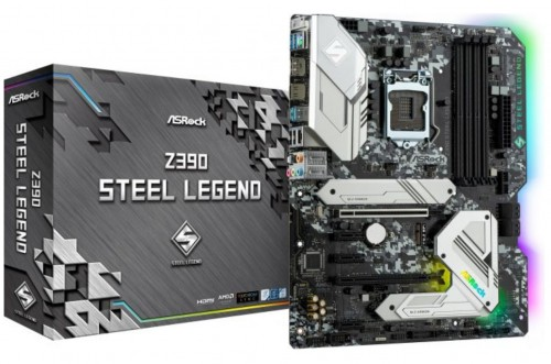 Bild: ASRock Z390 Steel Legend: Intel-Mainboard mit Camouflage-Optik