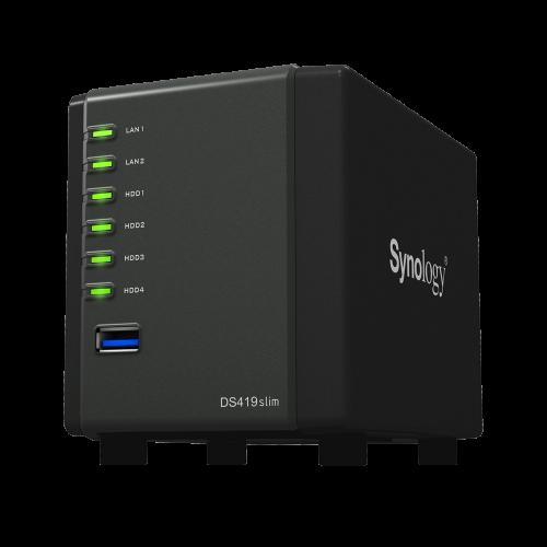 Synology DiskStation DS419slim: NAS mit vier Laufwerkseinschüben
