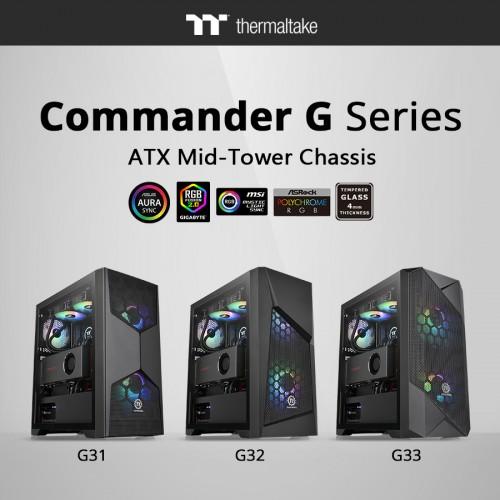 Bild: Thermaltake G-Serie: Gehäuse mit Sichtfenster und RGB-Beleuchtung