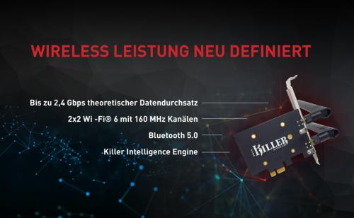 Killer AX1650: PCIe-WLAN-Karte mit WiFi 6 und Bluetooth 5.1