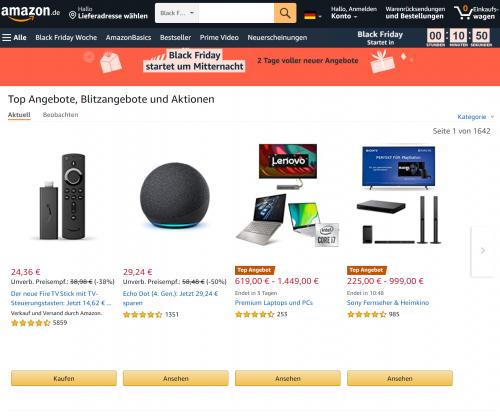 Black Friday bei Amazon gestartet - Die Schnäppchenjagd beginnt