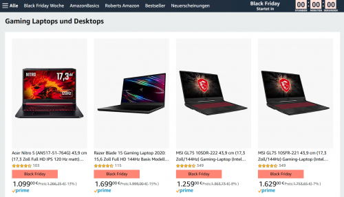 Bild: MSI Gaming Laptops zum Sonderpreis im Black Friday
