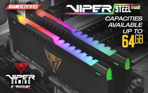 Bild: Patriot Viper Gaming: Viper Steel RGB-Speicher mit bis zu 64 GB