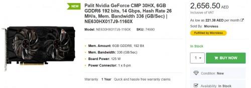 Palit CMP 30HX: Speziell entwickelte Mining-Karte mit Nvidia-GPU gesichtet