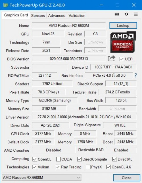 AMD Radeon RX 6600M: Neue Notebook-GPU als Konkurrent der GeForce RTX 3060